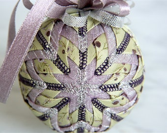 Quilted Christmas Ornament Ball-Purple-Green-Holiday Jewel