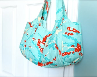 Sale - Everyday Purse - Large Tote - Shoulder Purse - Blue Purse - Shoulder Bag - Joel Dewberry Turquoise Purse
