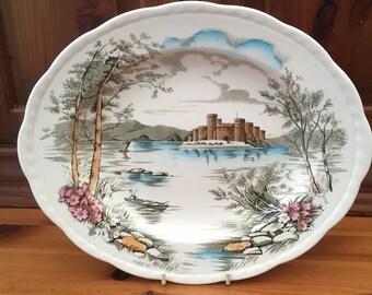Alfred Meakin, Oval Dinner Plate or Serving Platter. Queens Castle Design. Staffordshire, England