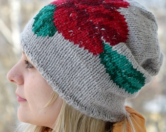 Embroidered Hat / Bohemian Clothing / Hand Knit Hat / Slouchy Beanie / Hand Embroidered Beanie / Hand Knit Hat / Boho Hat / Slouchy Hat