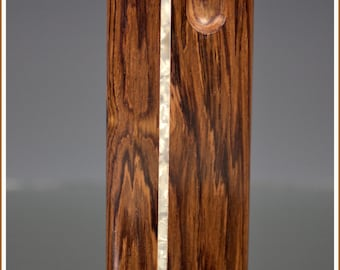 Handcrafted Tall Honduras Pearl Inlay Dugout with Swivel Lid and One Hitter Bat
