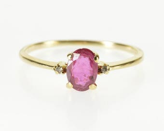 14k Oval Ruby Diamond Three Stone Accented Ring Gold