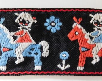 "Vintage Jacquard Trim | Jacquard ribbon | 1-7/8"" Inch | Children's Costume Trim~Black~Blue~Red~White | Child on a horse"