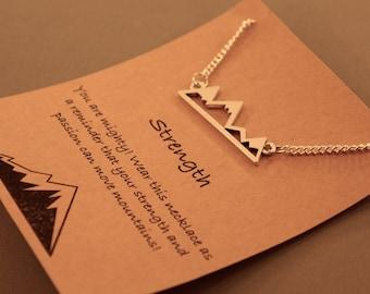 Mountain Strength Necklace: Mountain Range Silhouette Necklace, Friendship Necklace, Friendship Jewelry, Best Friends, Best Friends Necklace