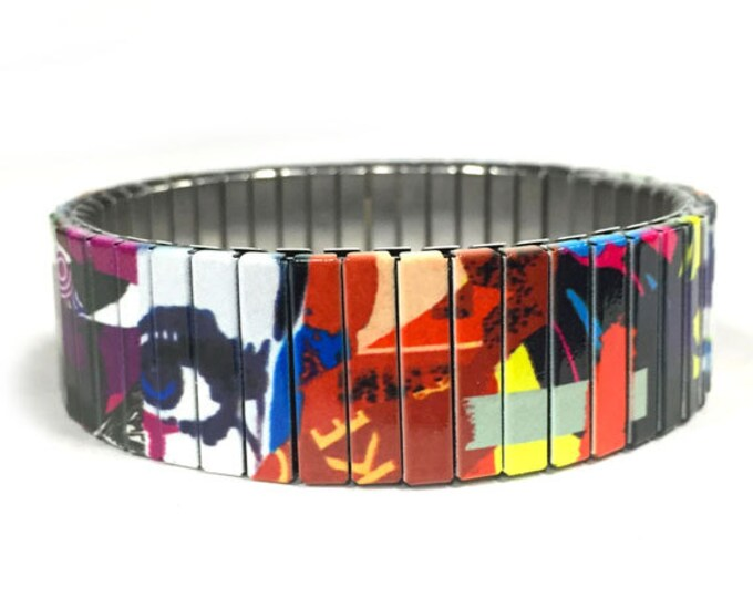 Bracelet PURPLE EYE, Abstract Art, Stainless Steel, Repurpose Watch Band, Stretch Bracelet, Wrist Band, Sublimation, gift for friends
