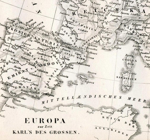 1851 german vintage map of europe in the time of charlemagne malvernweather Images
