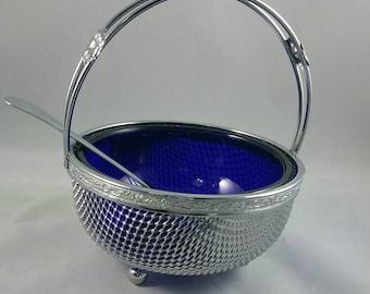 Chrome Mesh Basket With Cobalt Blue Glass Liner,  Footed Chrome Condiment Dish, Cobalt Blue Glass