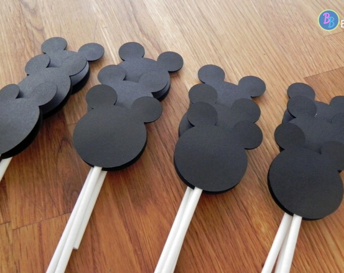 Cupcake Toppers: Mickey Mouse Baby Shower or Birthday Party - die cut mickey mouse