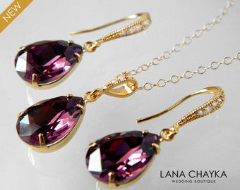 Amethyst Gold Jewelry Set Purple Crystal Earrings&Necklace Set Swarovski Amethyst Rhinestone Jewelry Set Wedding Bridal Bridesmaids Jewelry