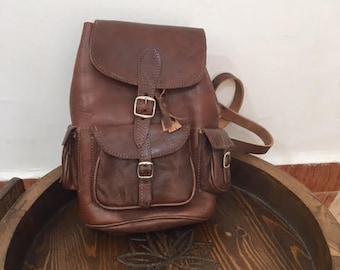 Moroccan Leather & brown  Backpack Shoulder Bag /handmade leather