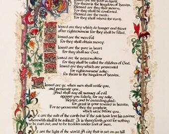 11x17/Sermon on the Mount/Print of Original,Calligraphy, Print,Old World Art,Bible Art,Beatitudes