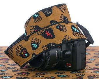 Bear Print Camera Strap, dSLR, Spirit Symbols, Canon Camera Strap, Nikon Camera Strap, SLR, Mens Camera Strap, Mirrorless camera, 246