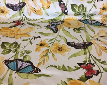 1.75 Yds Cotton Off White Green Yellow Red Blue Screen Print Home Decorator Floral Pattern Butterflies Botanical Curtain Drapery Roses Lily