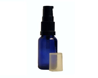 6 pack; 5 ml (1/6 oz) to 30 ml (1 oz) empty blue glass bottle with lotion/treatment pump for holistic and essential oil blends