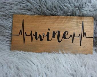 Wine EKG Wood Plaque