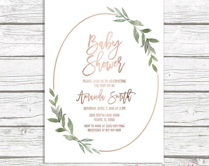 Rose Gold Leaf Baby Shower Invitation, Rose Gold Baby Shower Invitation, Leaf Baby Shower Invite, Gender Neutral Baby, Botanical Invitation