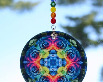 Mandala Suncatcher Rainbow Rose Chakra Boho Chic New Age Sacred Geometry Hippie Kaleidoscope Meditation Zen Unique Gift For Open Heart