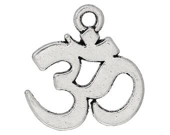 10 pendants Charm - SC40534 - 15x14mm silver Ohm charm