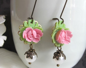 Nature Garden Rose Flowers. Pink Rose Swarovski Pearl Drop Earrings. Spring Summer Floral Antiqued Brass Ear Accessories For Mom, For Her