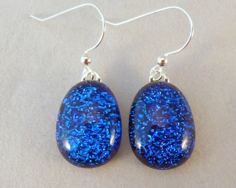 Blue Teardrop Dichroic Fused Glass Dangle Earrings, Dichroic Earrings, Fused Glass Earrings, Glass Earrings, Dangle, Dichroic, Blue