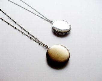 Locket Necklace/ Lockets for Women / Layered and Long Necklace / Simple Round Locket / Locket for Men / Brass Locket /Boho Jewelry Gift Idea