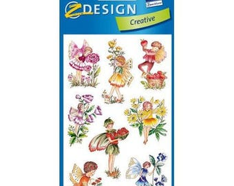 3 sheets of stickers, scrapbooking Elves color stickers