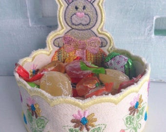 Easter Basket Easter Bunny Basket fabric basket bowls Easter BunnyToddler basket Easter Bags  Bunny Bag Bunny Easter Bags Embroidered Basket