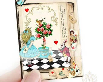 Alice in Wonderland, Aceo, Artist trading card, art print, Queen of hearts, white rabbit, miniature, collectible art