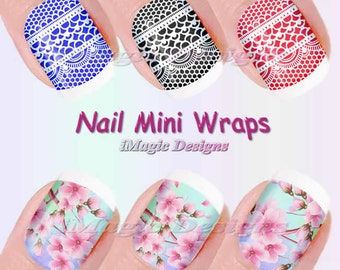 Nail Mini Wraps, Waterslide Nail Art, Stickers, White Lace or Cherry in Bloom