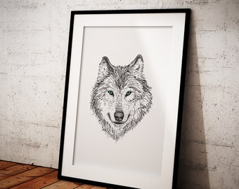 Printable Wall Art, Printable Line Drawing, Line Drawing Wolf, Animal Printable, Printable Sketch Art, Home Decor, Line Art, Drawing, Wolf