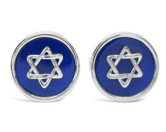 White Gold Star of David Cufflinks