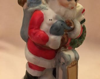 Vintage 1989 Ceramic Bell with Santa Claus on Top