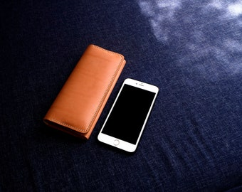 Vegetable Tanned Leather Long Wallet With Big Compartment Hand Stitched