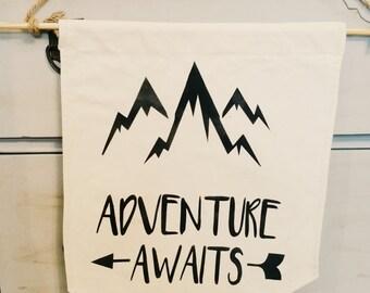 Adventure awaits- Canvas Banner- Wall Decor