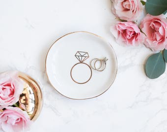 Engagement Ring Dish   Gold Engagement Gift Bride Gift Anniversary Gift Wedding Gift Jewelry Dish Trinket Dish Ring Holder Jewelry Holder