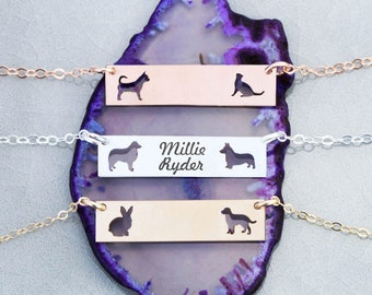 Custom Pet Jewelry Bar Necklace • Rose Gold Bar Necklace Two Pet Family Gift Dog Lover Gift Cat Lover Breed Custom Pet Silhouette