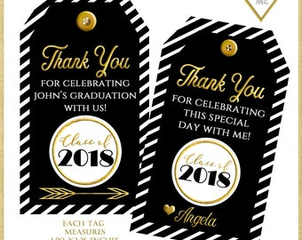Graduation Thank You Tags:Graduation Tags, Thank you Tags, Graduation Printables, Graduation Gift Tags, Black and Gold Thank You Tags 101816