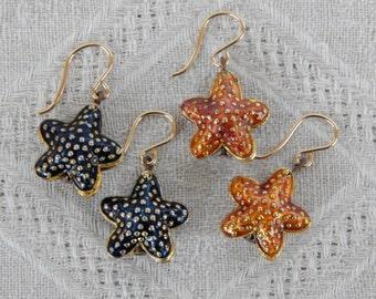 Black or Amber Cloisonne Starfish Earrings, Starfish Earrings, Black or Amber Cloisonne Earrings, Summer Island Beach Jewelry, Starfish
