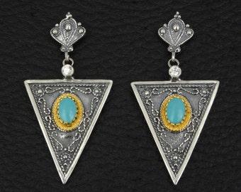 Blue Turquoise Earrings Byzantine Style 925 Sterling Silver & 22K Gold Plated Greek Handmade Art Rare Luxury