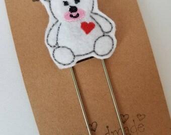 Bear w/ Heart Jumbo Bookmark - XL - Planner Clip - Planner Accessory- Small Gift