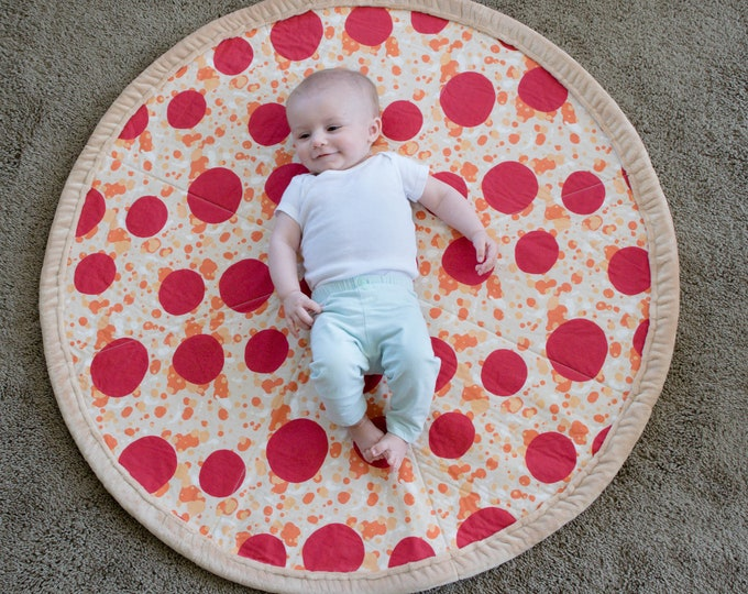 Pepperoni Pizza Baby Quilted Blanket-Pizza Baby Quilt-Pizza play mat