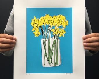 Daffodil Hand Pulled Screen Print Eco-Friendly Inks and Recycled Paper Stock