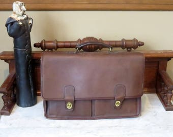 Etsy BDay Sale Coach Prescott Briefcase In Mahogany Leather - Style No. 5275- Made in United States- GUC- No Strap