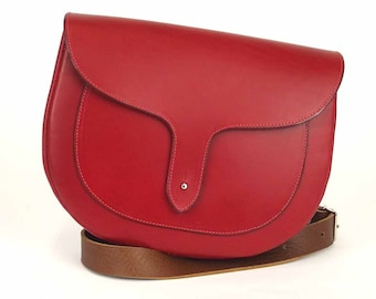 Red Leather Sally Satchel, English Leather, Red Leather Satchel bag for women