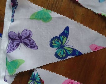 Butterfly Bunting, Fabric bunting,