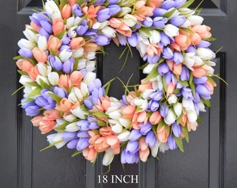 SUMMER WREATH SALE Spring Wreath- Tulip Spring Wreath- Summer Wreath- Custom Summer Door Wreath