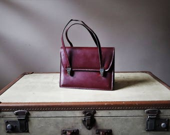 Handbag vintage leather box-calf Burgundy vintage 60s / 70's