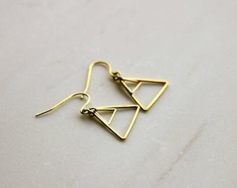 Gold triangle earrings, Geometric triangle earrings, Gold earrings, modern drop earrings, Gift for her, gift for wife, bridesmaid earrings