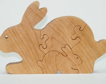 Wooden Puzzle Bunny Puzzle Wood Baby Bunny Personalized for Toddlers and Children