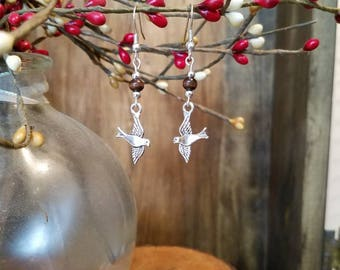 FREE SHIPPING Silver bird earrings with wooden accent beads